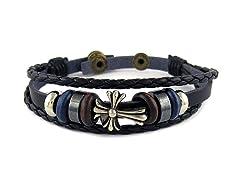 Leather 3 Row Cross Bracelet