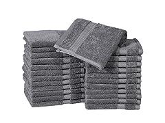 Casa Platino 100% Combed Cotton Washcloths - 24 Pack