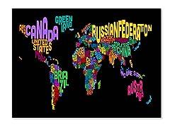 World Text Map Canvas Art