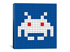 White Invader Tile Art 18x18 Thin