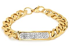 18kt Plated Cuban Bracelet w/ Accent