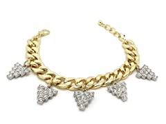 Clear Grapes Crystal Pave Cuban Chain Bracelet