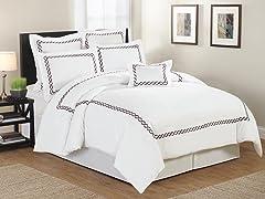 Rael Hotel Twist Embellished 7 Piece Comforter Set- 2 Sizes