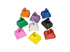 "3"" Assorted Color Metal Cowbells - 12 ct"