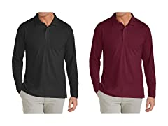 GBH Men's L/S Pique Polo Shirt 2-Pack