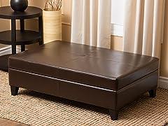Ines Leather Flip-Top Ottoman