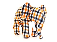 Ellis the Elephant- Orange & Black Plaid