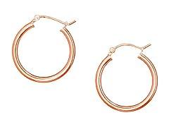 18K Rose Gold Plain Hoop Earrings