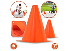 7-Inch Plastic Traffic Cones (6-Pack)