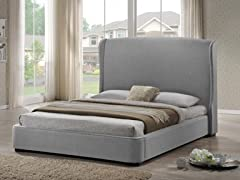 Sheila Gray Linen Modern Bed - King