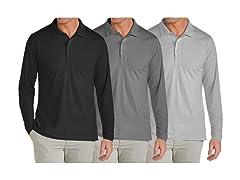 3PK Mens L/S Pique Polo Shirts