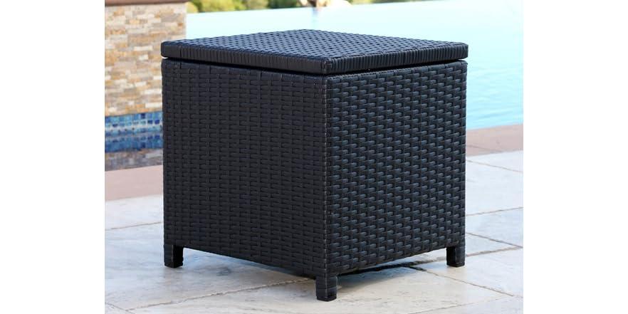 Aliso Outdoor Black Wicker Storage Ottoman