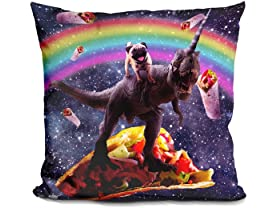 Space Pug Riding Dinosaur Unicorn - Taco & Burrito Pillow