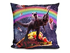Space Pug Riding Dinosaur Pillow
