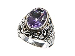 18kt Gold Accent Amethyst Oval Ring