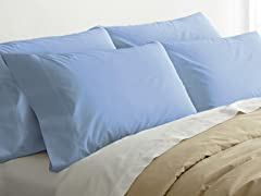 2pk Quilted Pillows w/4 Bonus Cases-Sky Blue