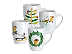 Holiday Hoot 11oz Mugs - Set of 4