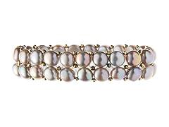 2 Rows Grey Freshwater Pearl Bracelet