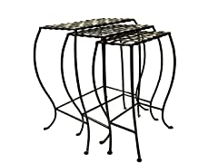 Woven Metal Nesting Tables Set of 3