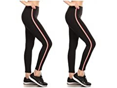 2PK Women's Cotton Side Stripe Leggings