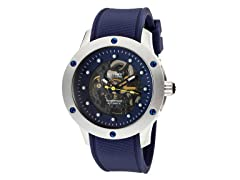 Men's See Thru Black Dial / Blue Band