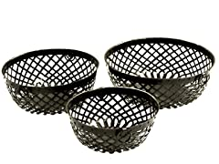 Iron Strap Round Baskets Set of 3