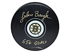 John Bucyk Bruins Signed Puck, 556 Goals