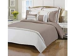Emma 7-Piece Wrinkle Resistant Duvet Set, Ivory/Taupe
