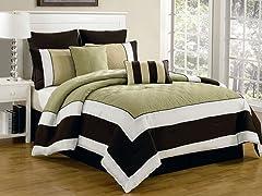 Spain Hotel Online 8 Piece Quilted Comforter Set- Queen
