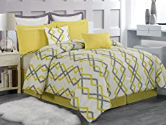 Kelsey Hotel 8 Piece Quilted Comforter Set- 2 Sizes