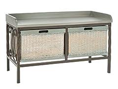 Noah Wooden Storage Bench - Grey