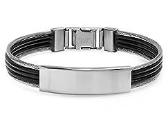 Black Leather Bracelet w/ Center ID