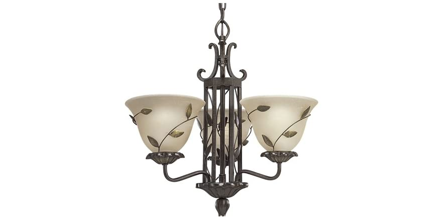 3 Light Chandelier Forged Bronze