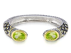 Regal Jewelry 18K Gold-Plated Simulated Diamond Peridot Bangle With Deisgn