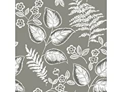 Grey Foliage Peel & Stick Wallpaper