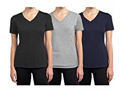 Womens 3PK SS Cotton Stretch Tees