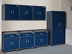 (1) Tall, (3) Base, and (3) Wall Steel Cabinet Set