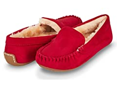 Womens Basic Faux Fur Moccasin Slipper, Red