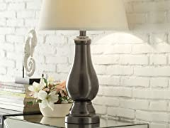 3-Way Switch Grey Metal Table Lamp