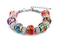 Crystal and Murano Bead Bracelet With Clasp