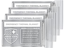 Swiss Safe Emergency Mylar Thermal Blankets 4-Pack