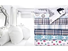 Printed Flannel 4 Piece Sheet Set