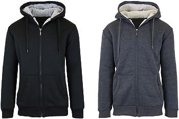 2-Pack Sherpa Lined Fleece Heavy Weight Men's or Women's Hoodies