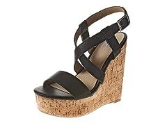 Carrini Strappy X Wedge Sandal, Black