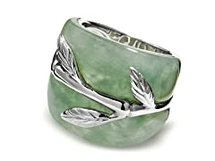 Sterling Silver Bamboo Pattern, Jade Ring