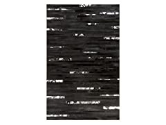 Trail Jet Black Leather Rug- 2 Sizes