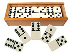 Premium Set of 28 Double Six Dominoes w/ Wood Case