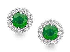 SS Green CZ Halo Stud Earrings