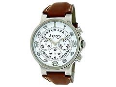 No 8 Round Chronograph White Dial Watch