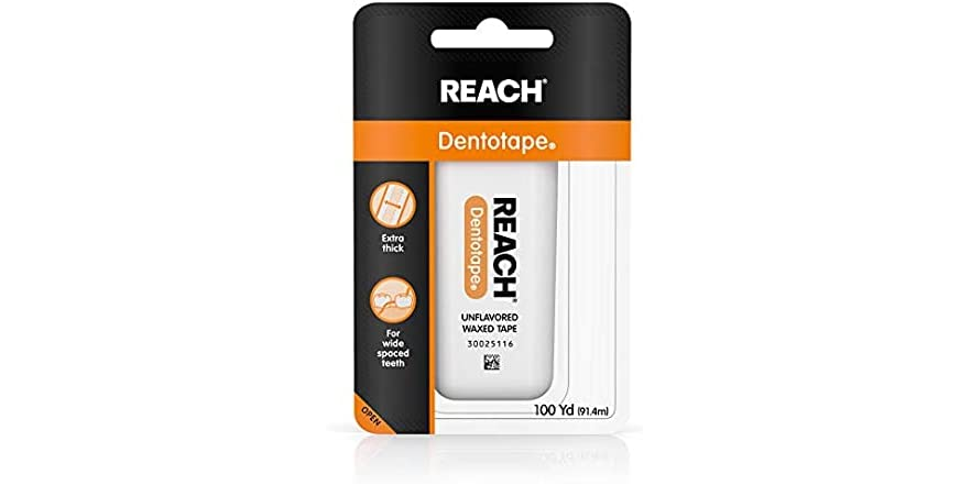 Reach Dentotape Waxed Dental Floss with Extra Wide Cleaning Surface for Large Spaces between Teeth, Unflavored, 100 Yards   WOOT